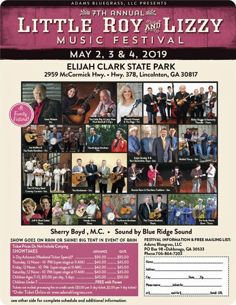 Gene Watson & The Farewell Party Band with special guests Rhonda Vincent & The Rage at 7th Annual Little Roy & Lizzie Music Festival, Elijah Clark State Park, 2959 McCormick Hwy., Lincolnton, GA 30817 on Friday 3 May 2019