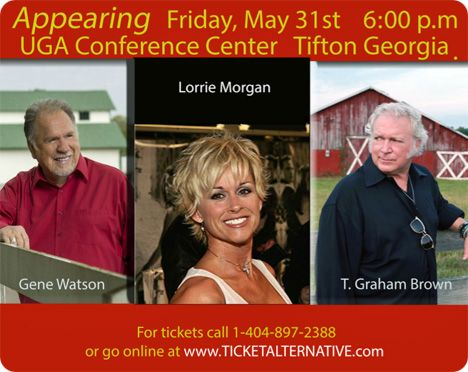 Gene Watson, Lorrie Morgan and T. Graham Brown at University of Georgia, Tifton Campus Conference Center, 2360 Rainwater Road, Tifton, GA 31793 on Friday 31 May 2019