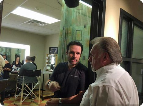 Gene Watson waiting to have a make-up application for a television taping, with Mark Wills, for a new 'Country's Family Reunion' 'Wednesday Night Prayer Meeting' series, on Wednesday 23 August 2017