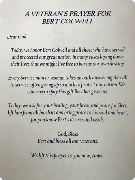 A Veteran's Prayer for Bert Colwell (Tuesday 4 April 1944 - Monday 31 July 2017)