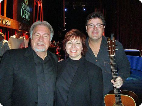 Gene Watson with Dawn Sears (Thursday 7 December 1961 - Thursday 11 December 2014) and Vince Gill backstage at The Grand Ole Opry in Nashville on Friday 19 March 2010