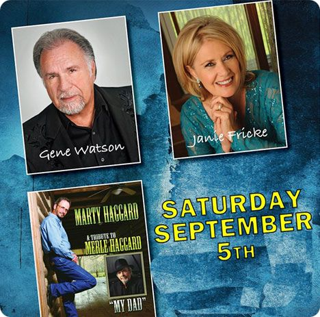 Gene Watson, Janie Fricke and Marty Haggard with 'A Tribute to Merle Haggard' at Anderson Music Hall, Georgia Mountain Fairgrounds, 1311 Music Hall Road, P.O. Box 444, Hiawassee, GA 30546 on Saturday 5 September 2020