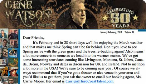 Gene Watson Newsletter / Volume 27 / January/February 2013