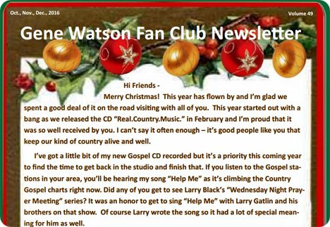 Gene Watson Newsletter / Volume 49 / October/November/December 2016