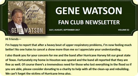 Gene Watson Newsletter / Volume 52 (July / August / September 2017)