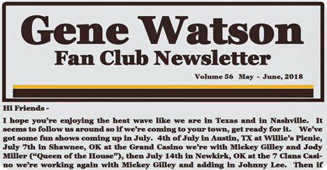 Gene Watson Newsletter / Volume 56 (May - June 2018)