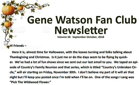 Gene Watson Newsletter: Volume 58 (September / October 2018)