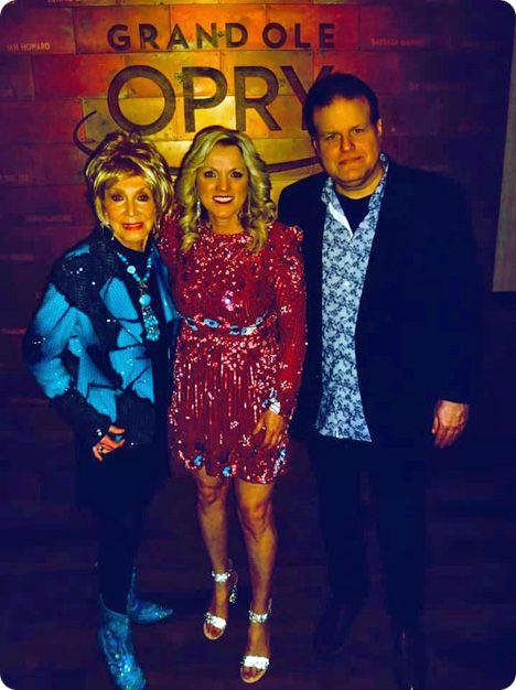 Jeannie Seely, Rhonda Vincent and Bobby Tomberlin backstage at The Grand Ole Opry in Nashville on Friday 28 February 2020, the night on which Jeannie Seely invited Rhonda Vincent to become an official Opry member