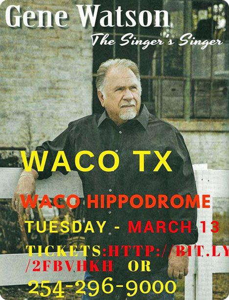 Gene Watson at The Waco Hippodrome Theatre, 724 Austin Avenue, Waco, TX 76701 on Tuesday 13 March 2018