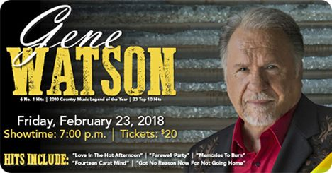 Gene Watson at Wild Rose Casino & Resort, 777 Wild Rose Drive, Clinton, Iowa 52732 on Friday 23 February 2018