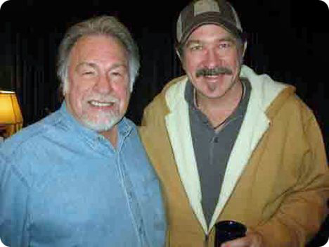 Gene Watson with Kix Brooks following a recorded interview for 'The Back Forty' in Nashville in January 2012 (photo courtesy of Sarah Brosmer, Lytle Management, Nashville)