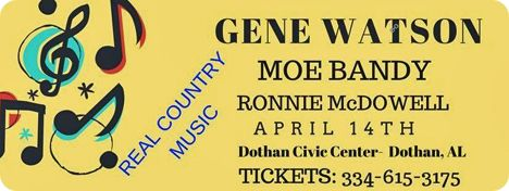Gene Watson, Moe Bandy and Ronnie McDowell at Dothan Civic Center, 126 N. Saint Andrews Street, Dothan, AL 36303 on Saturday 14 April 2018