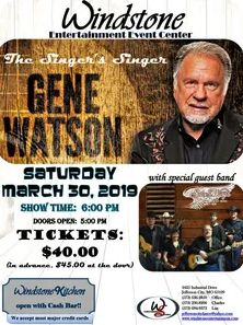 Gene Watson at Windstone Entertainment Center, 2425 Industrial Drive, Jefferson City, MO 65109 on Saturday 30 March 2019