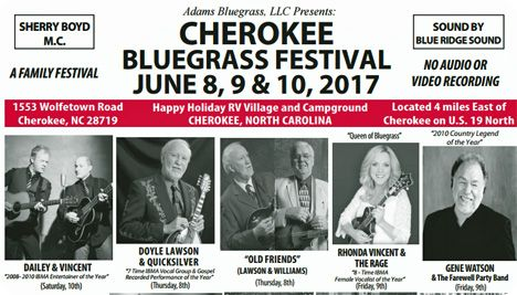 Cherokee Bluegrass Festival, Happy Holiday RV Village & Campground, 1553 Wolfetown Road, Cherokee, NC 28719
