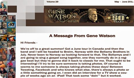 Gene Watson Newsletter / Volume 29 / May/June 2013