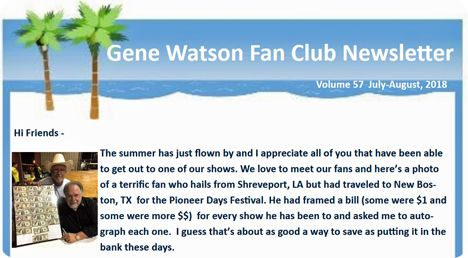 Gene Watson Newsletter: Volume 57 (July / August 2018)