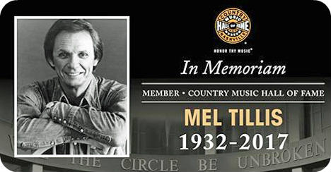 Mel Tillis (Monday 8 August 1932 - Sunday 19 November 2017)
