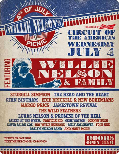 Willie Nelson's Fourth of July Picnic at 9201 Circuit of The Americas Boulevard, Del Valle / Austin, TX 78617 on Wednesday 4 July 2018